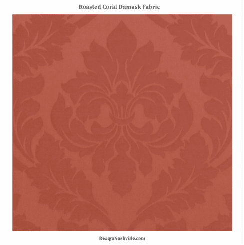 Roasted Coral Damask Fabric