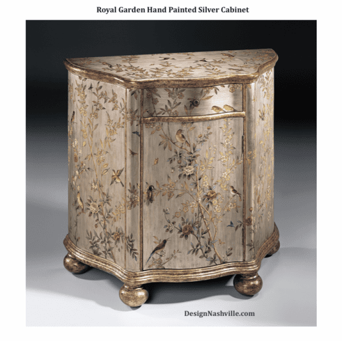 Royal Garden Hand Painted Silver Cabinet