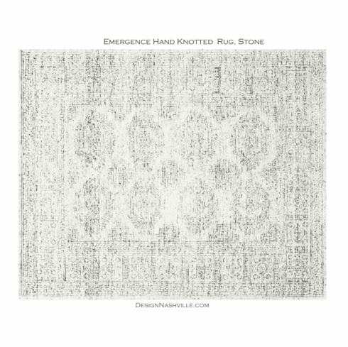 Sample Emergence Hand Knotted Rug, white and black