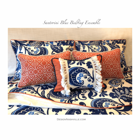 Santorini Blue Bedding Ensemble