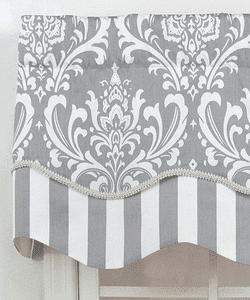 Scalloped Valance cut to correspond with damask motif