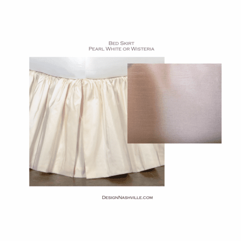 Shirred Faux Silk Bed Skirt, Pearl White or Wisteria