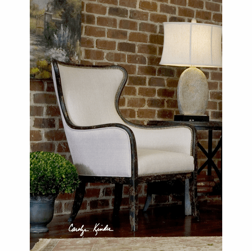Silhouette Wing Chair, white sand