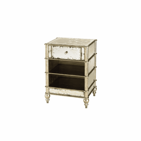 Silver Bamboo and Mirror Nightstand