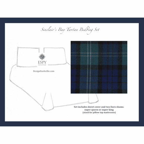 Sinclair's Bay Tartan Luxury Bedding Set, blue