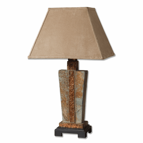 Slate and Copper wedge lamp