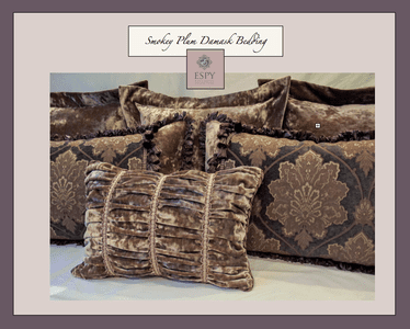Smoky Plum Damask Drapery and Bedding Collection