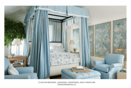 Soft  Blue Traditional with Box Pleated Canopy