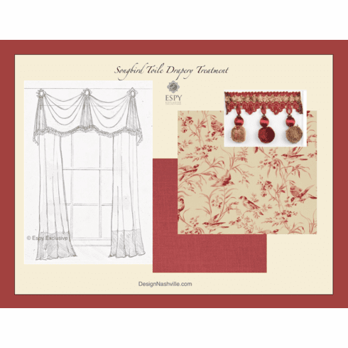 Songbird Toile Drapery Treatment