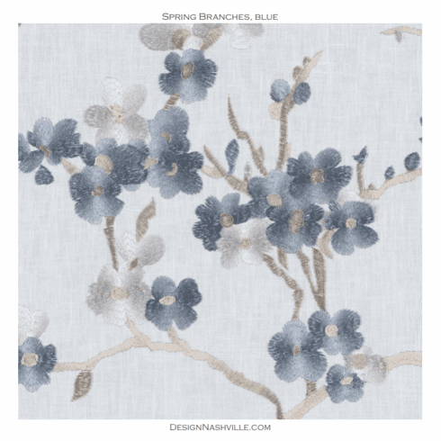 Spring Branches Embroidered Fabric blue