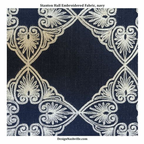 Stanton Hall Embroidered Fabric, navy