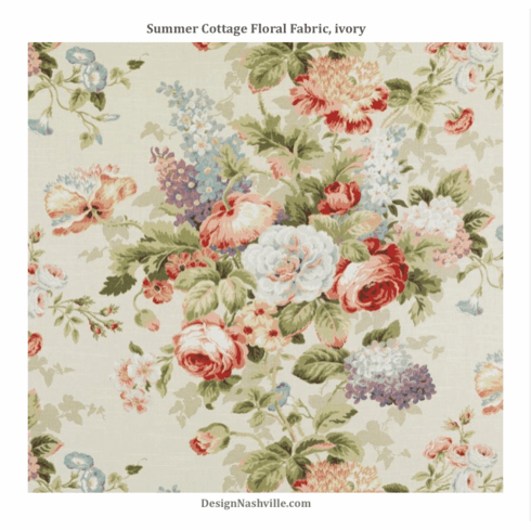 Summer Cottage Floral Fabric, ivory