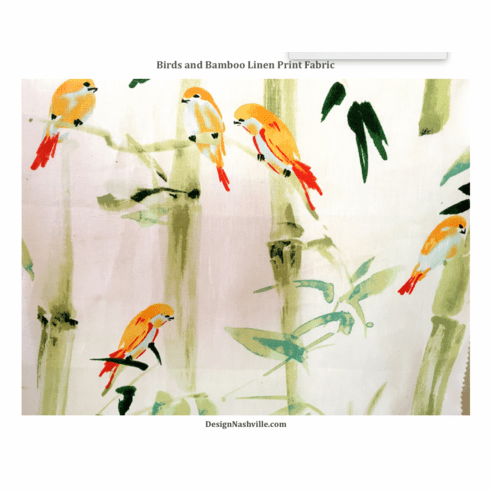 Swatch Bamboo and Birds Linen Print Fabric