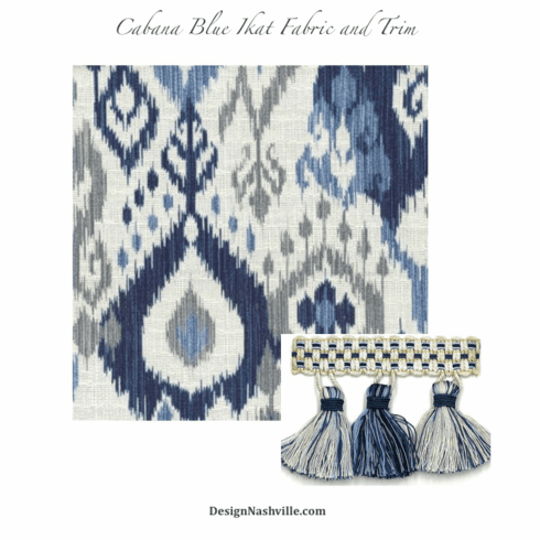Swatch Cabana Blue Ikat Fabric