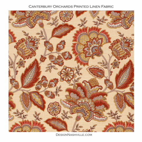 SWATCH Canterbury Orchards Linen Print Fabric