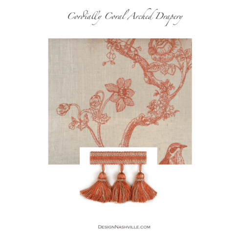 SWATCH Cordially Coral Embroidered Vine Fabric