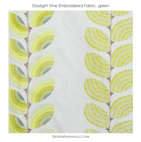 SWATCH Daylight Vine Embroidered Fabric, green