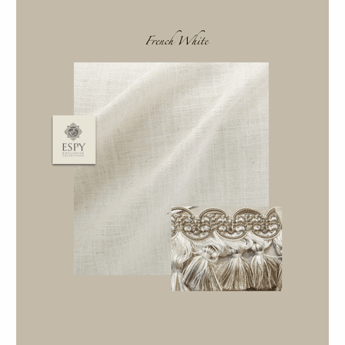 SWATCH French White faux linen and trim