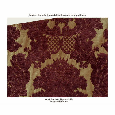 SWATCH Gautier Damask Fabric FOR BEDDING, maroon