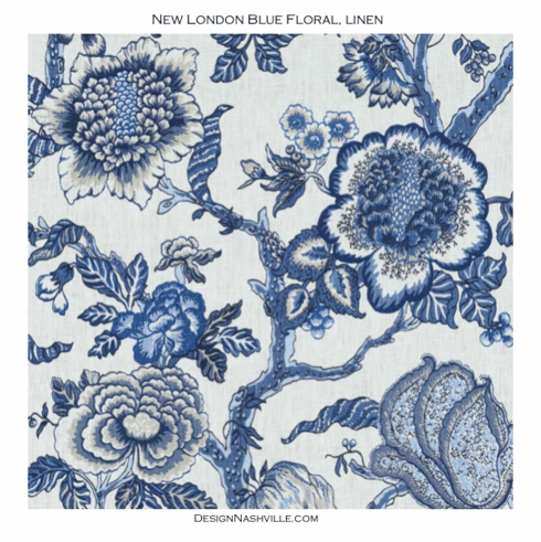 SWATCH New London Blue Floral <br>Linen Fabric