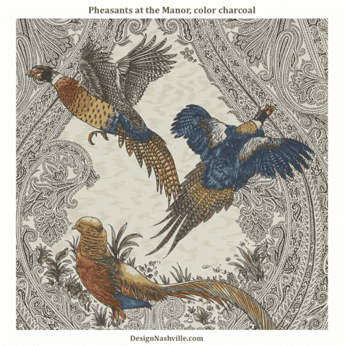 SWATCH Pheasants at the Manor Print Fabric, charcoal