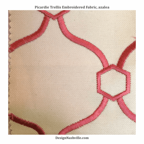 SWATCH Picardie Embroidered Trellis Fabric, azalea