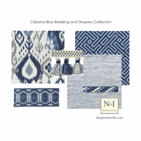 SWATCH SET Cabana Blue Bedding and Drapery Collection