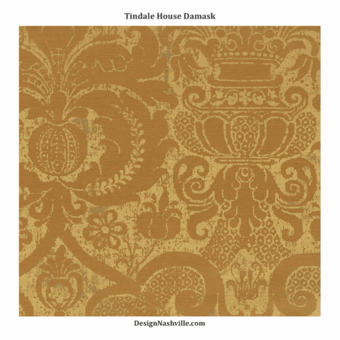 SWATCH Tindale House Damask Fabric, antique brass