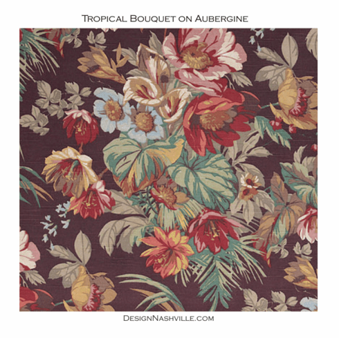 SWATCH Tropical Bouquet Fabric on Aubergine Cotton Fabric