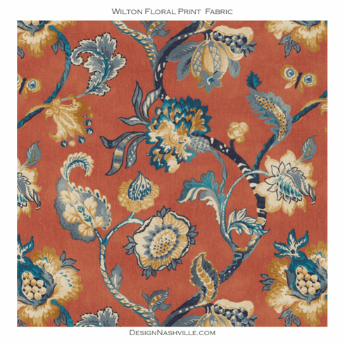 SWATCH Wilton Floral Print Fabric persimmon