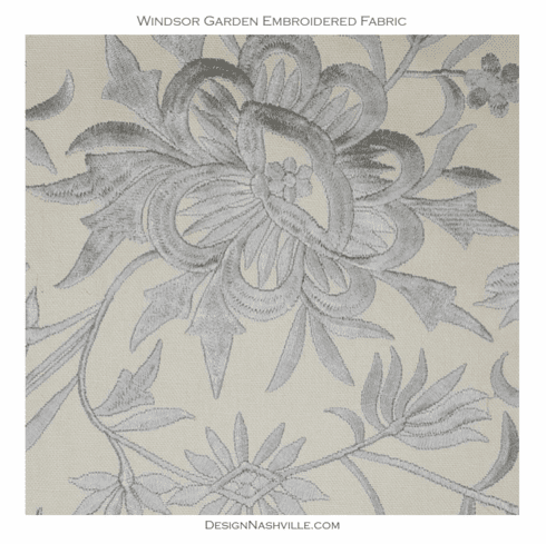 SWATCH Windsor Garden Embroidered Fabric, grey