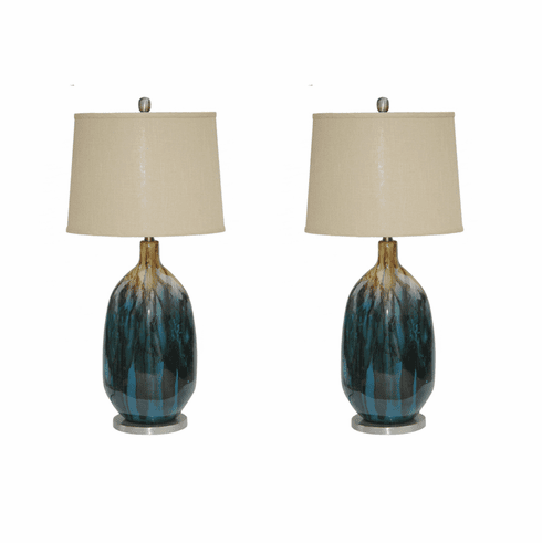 Tahoe Blue Lamps Set of 2