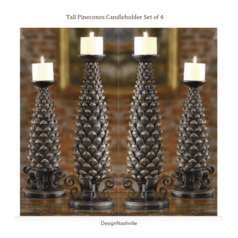 Tall Pinecones Candleholders, set of 4