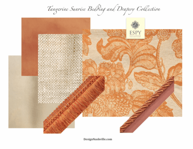 Tangerine Sunrise Bedding and Drapery Collection