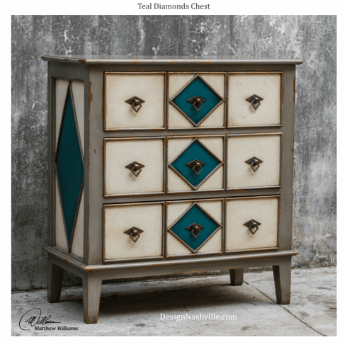 Teal Diamond Drawer Chest