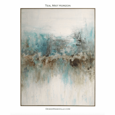 Teal Mist Horizon Framed Art