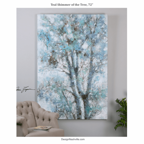 Teal Shimmer of the Tree, canvas art 72""