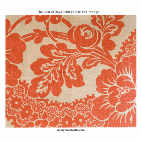 The Best of Days Linen Print Fabric,<br> red-orange