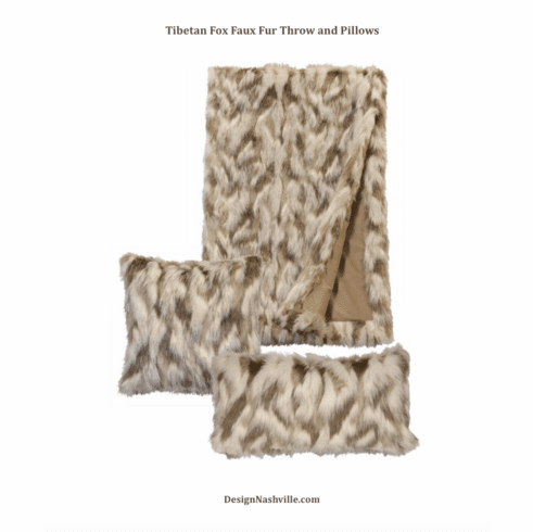 Tibetan Fox Faux Fur Throw and Pillows