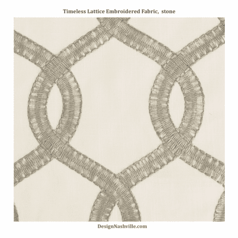 Timeless Lattice Embroidered Fabric, stone