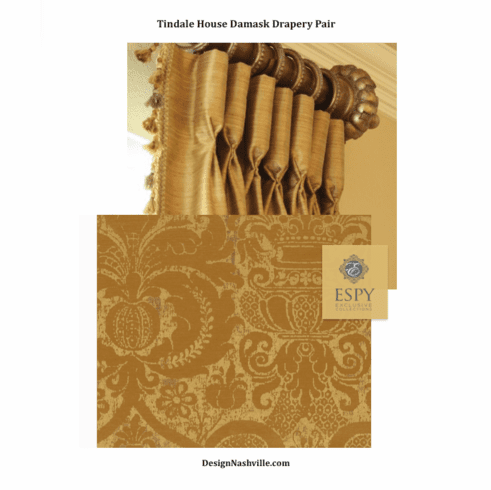 Tindale House Damask Print Drapery Pair Antique Brass, deluxe fullness