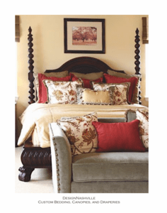 Traditional poster bed, Red and Cream bedding