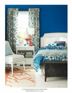 Tropical Blue Print Fabrics Bedroom