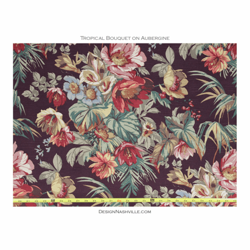 Tropical Bouquet on Aubergine Cotton Fabric