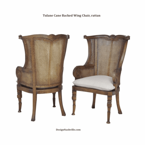 Tulane Cane Back Wing Chair, set of 2 rattan