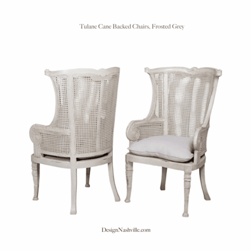 Tulane Cane Back Wing Chairs, frosted grey