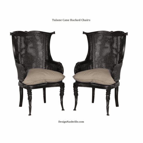 Tulane Caned Back Wing Chairs, vintage black set of 2