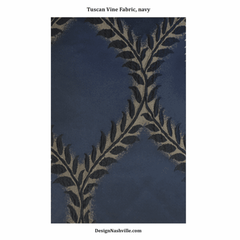 Tuscan Vine Fabric, navy