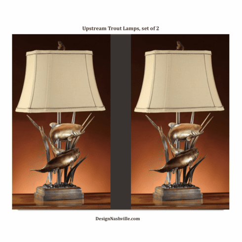 Upstream Trout Lamps, set of 2