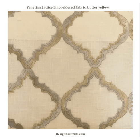 Venetian Lattice Embroidered Fabric, butter yellow